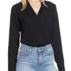 Trouve Sheer Layering V Neck Tee - S